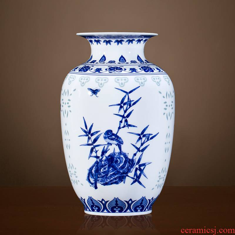Exquisite blue and white porcelain of jingdezhen ceramics floret bottle of flower arrangement, the new Chinese style living room decorates porch place TV ark
