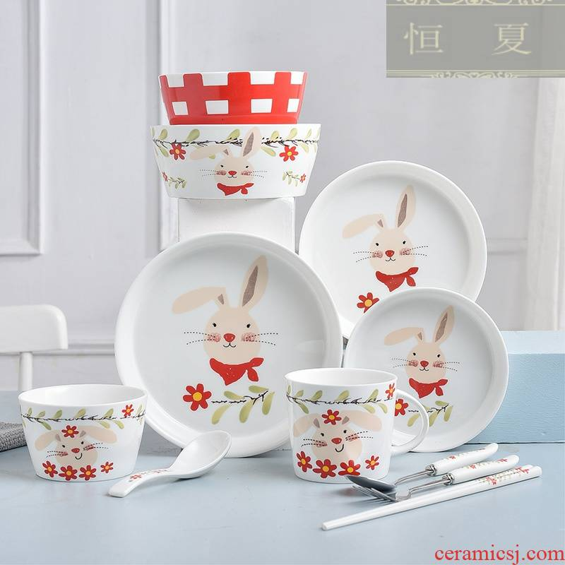 Lovely rabbit household tableware ceramic bowl dish dish a single free combination children bowl of noodles in soup bowl dishes for breakfast