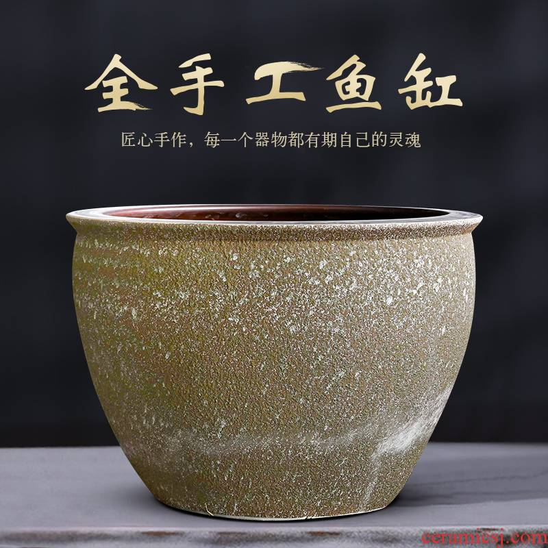 Jingdezhen ceramic aquarium 1 meter goldfish fish bowl lotus pond lily tortoise cylinder household decorates sitting room furnishing articles