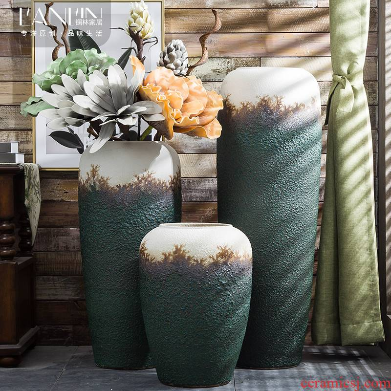 Jingdezhen Chinese style restoring ancient ways is the sitting room of large vase do old coarse pottery flower arranging flower art home furnishing articles ceramic vase