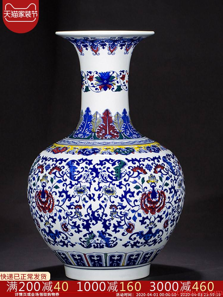 Jingdezhen ceramics bucket color design of blue and white porcelain vase copy qianlong years archaize sitting room adornment study furnishing articles