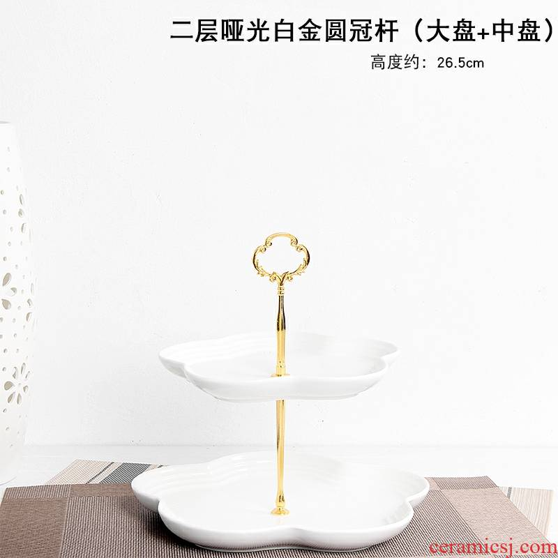 A Warm harbor multilayer fruit bowl creative home sitting room three the layers of modern web celebrity, lovely ceramic dessert cake