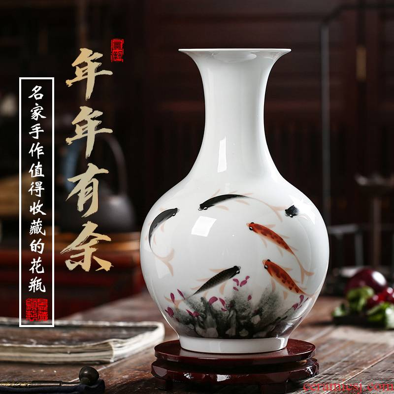 Jingdezhen ceramics vase sitting room adornment hand - made of new Chinese famille rose more than decoration flower arrangement furnishing articles every year