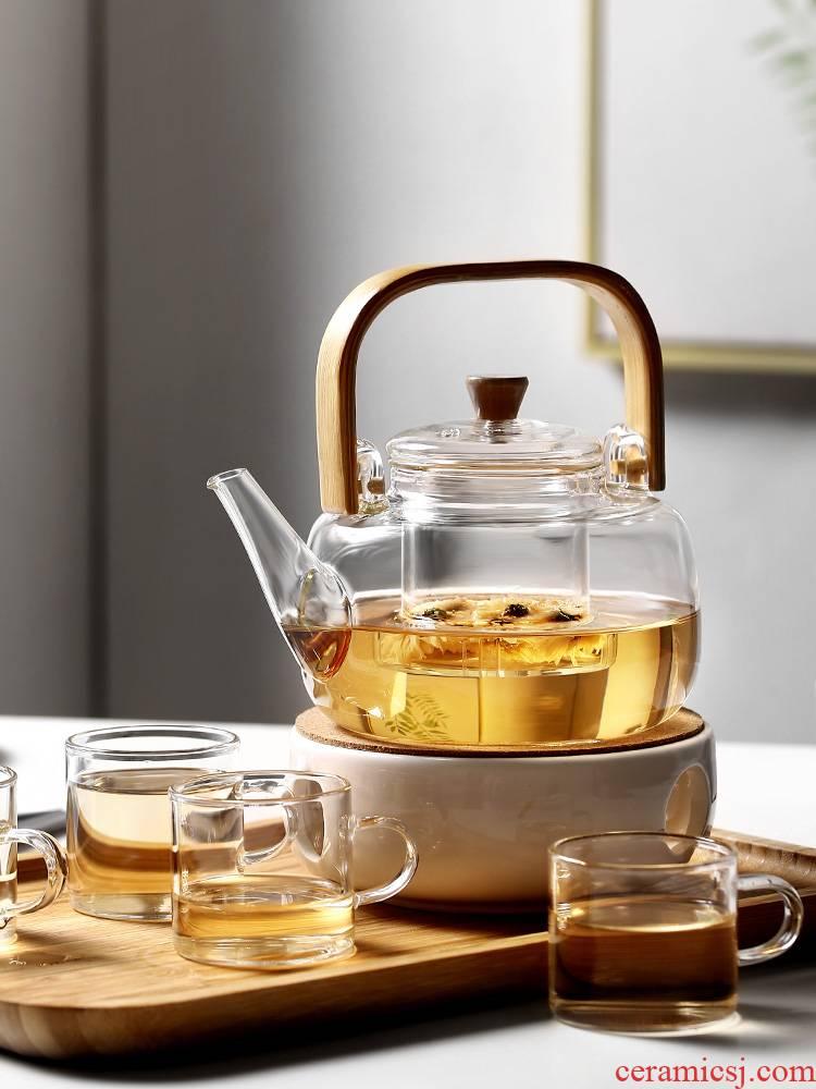 Glass teapot household high - temperature kettle scented tea special tea set electric TaoLu small single boil tea