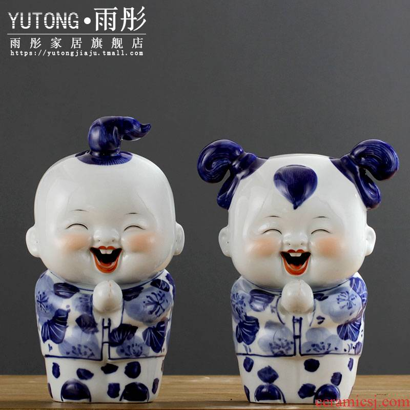 The rain tong home | its porcelain of jingdezhen ceramics {congratulation} home decoration furnishing articles of blue and white porcelain products
