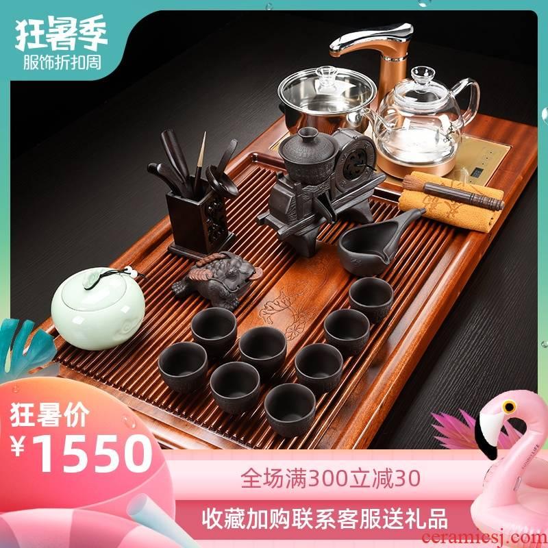 Repeatedly wang zhen hua limu household one solid wood tea tray tea ceramic kung fu tea sets tea set a complete set of living room