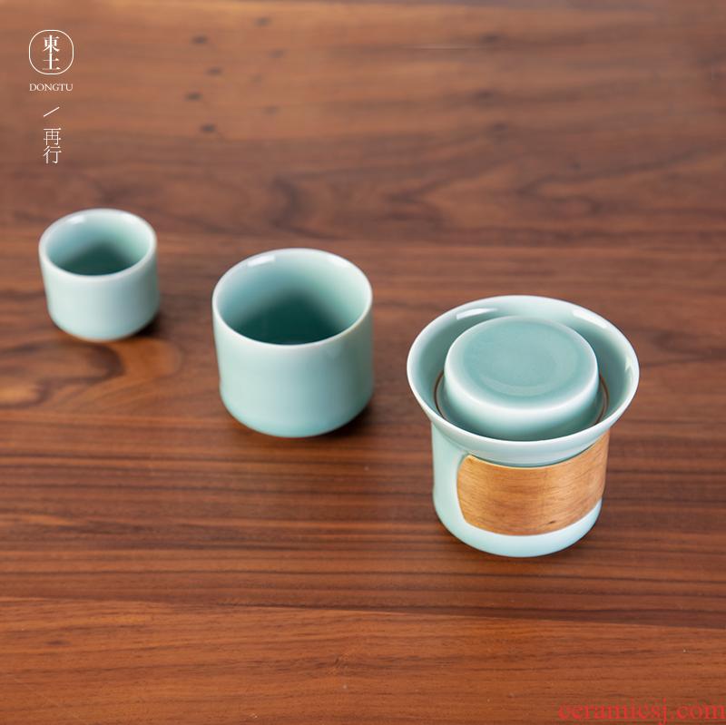 Longquan celadon crack of kung fu tea set a pot of creative travel two cup portable small tea set with its ehrs handbag