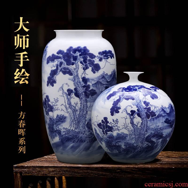 Jingdezhen ceramics hand - made landing large blue and white porcelain vase furnishing articles sitting room of Chinese style household decoration bottles