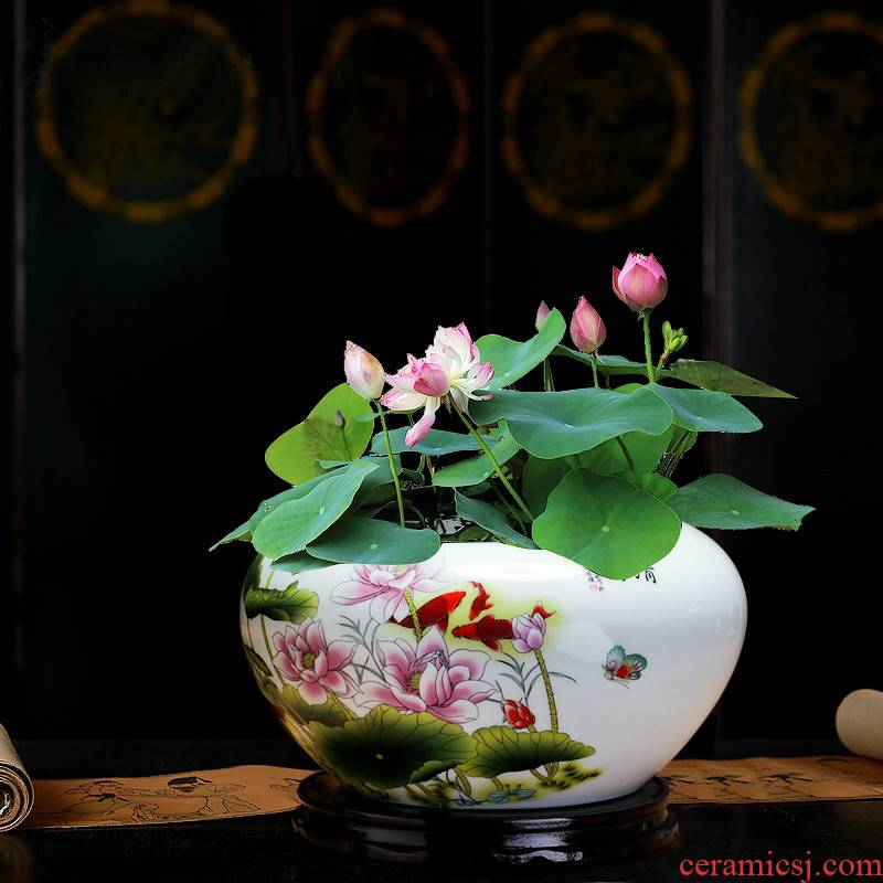 Jingdezhen ceramic aquarium writing brush washer goldfish turtle cylinder water lily of blue and white porcelain bowl lotus basin to the desktop furnishing articles to breed fish
