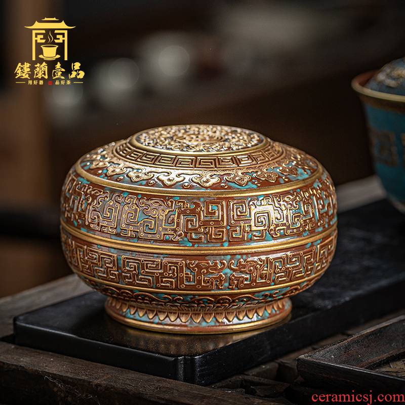 Jingdezhen ceramic checking bronze glaze therefore Long Wufu hold life cover box caddy fixings large seal the receive storage tank