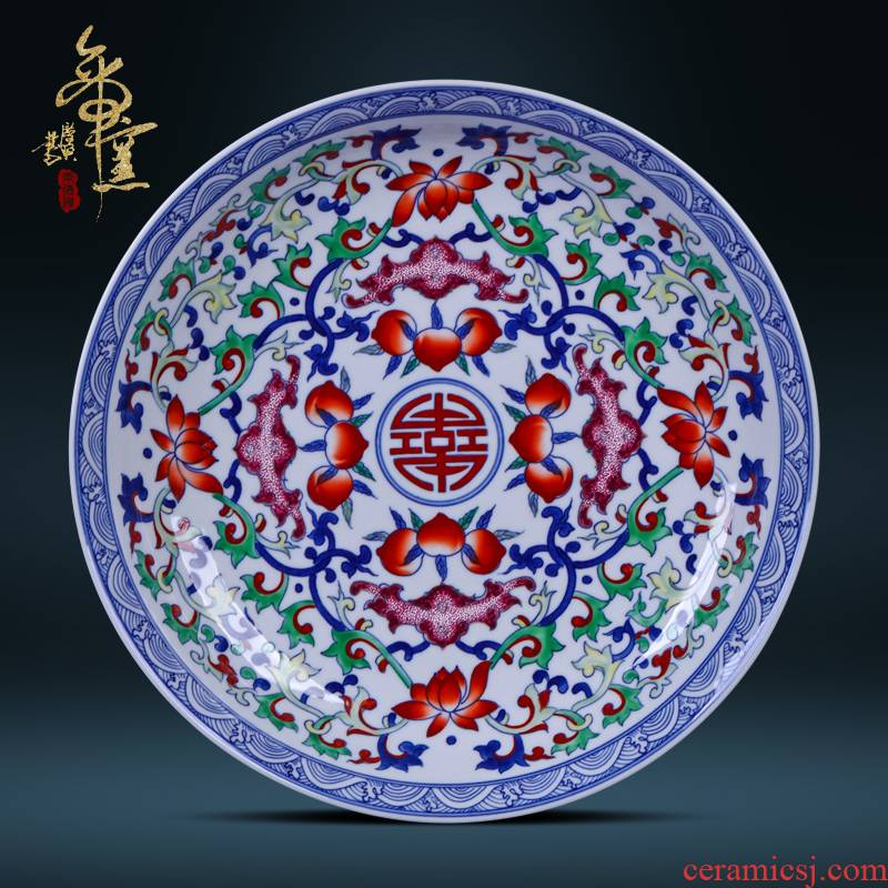 Bats hand - made classical Ming and the qing dynasties emperor up collection lines peach sat dish ceramic plate decoration furnishing articles hang dish of jingdezhen