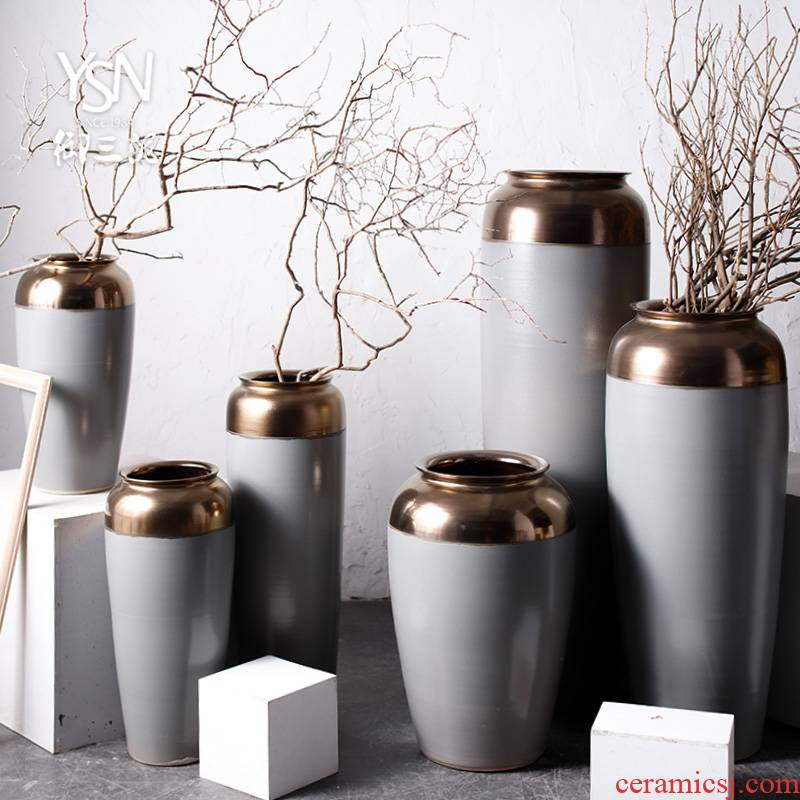 The Big vase landed furnishing articles Chinese modern Nordic contracted sitting room hotel cement color decoration ceramic bottle arranging flowers