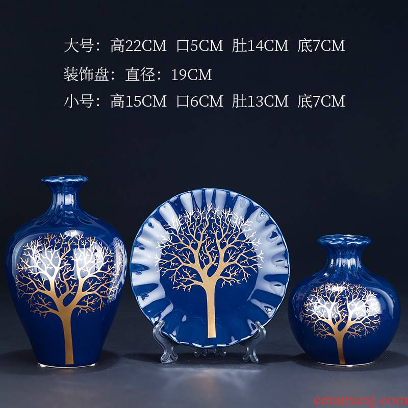 Jingdezhen ceramics glaze blue vase three - piece sitting room of Chinese style household adornment TV ark, rich ancient frame furnishing articles
