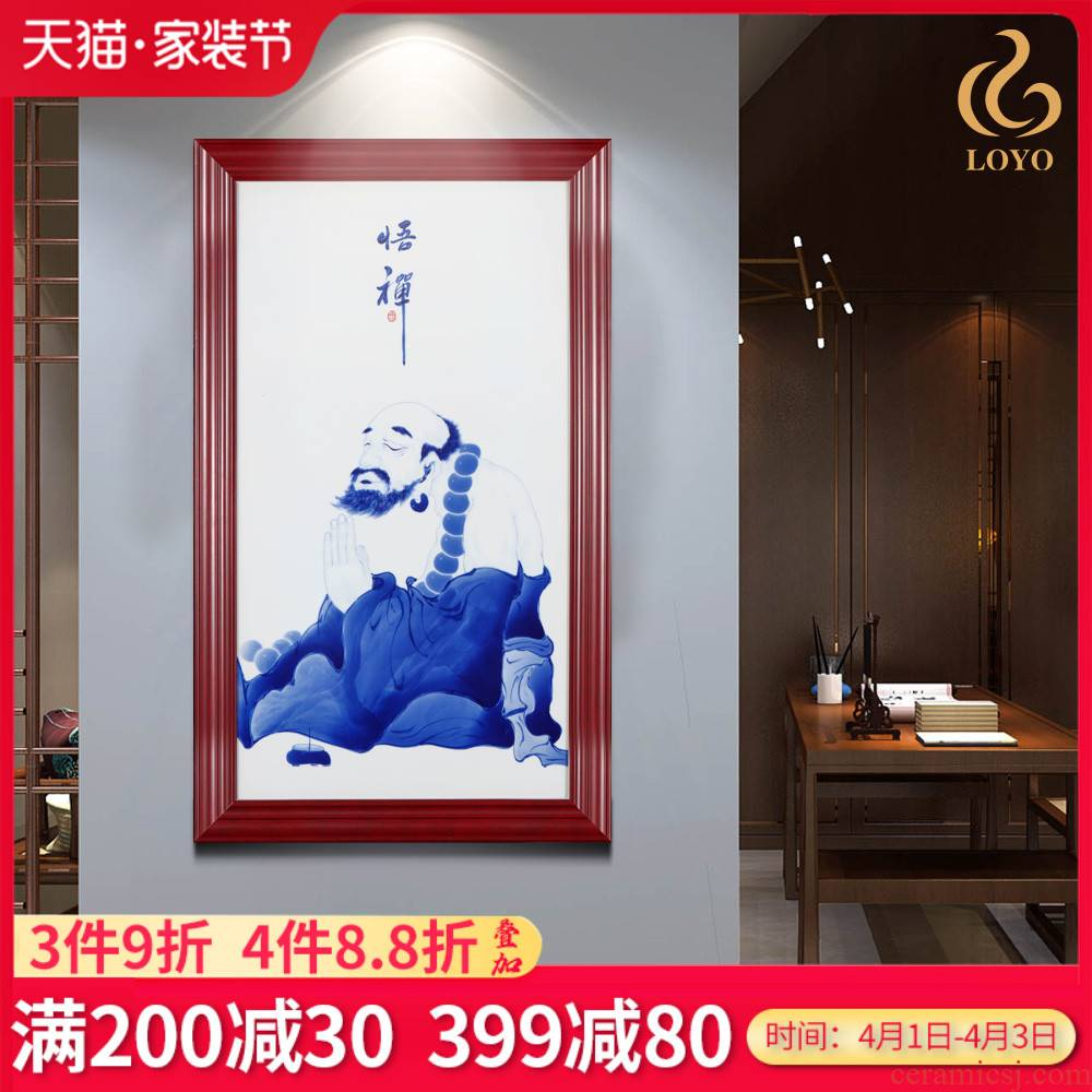 Blue and white porcelain of jingdezhen ceramics realization buddhist porcelain plate painting background wall of the sitting room porch decoration of the new Chinese style