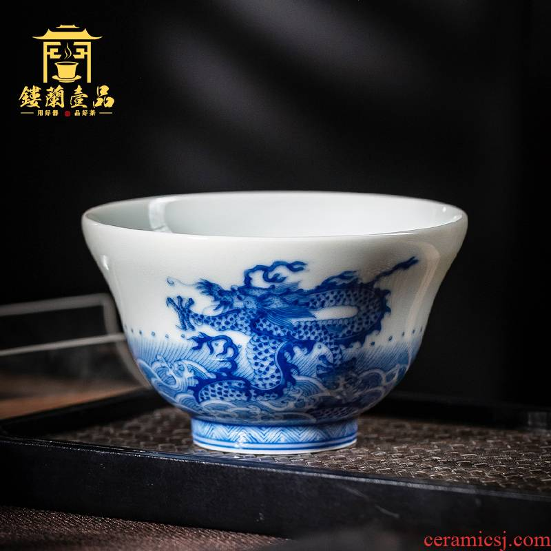 Jingdezhen ceramic all hand blue maintain yunlong sea master of kung fu tea cup bowl hand - made single CPU