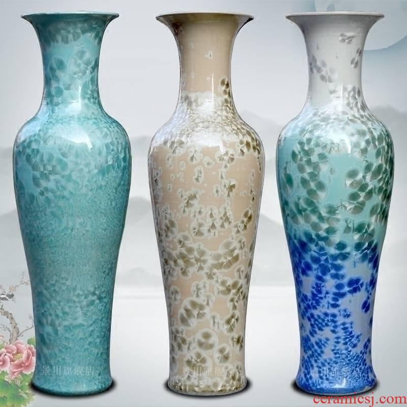 Jingdezhen ceramics jade borneol crystalline glaze furnishing articles hotel adornment of I sitting room of large vase