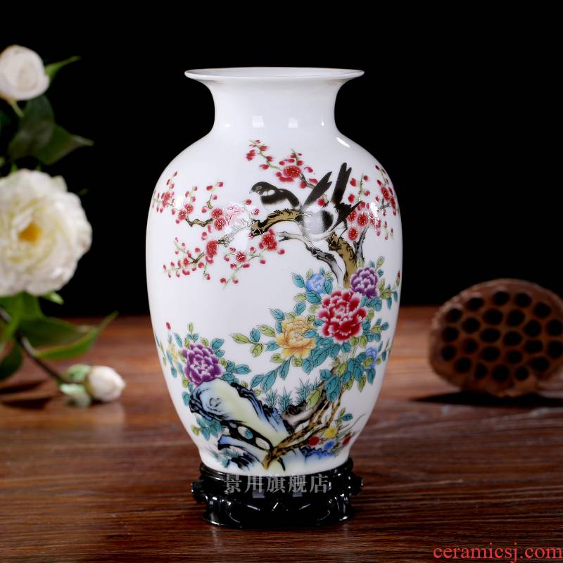 Jingdezhen ceramics small pure and fresh and I and contracted table flower flower bottle home sitting room adornment flowers
