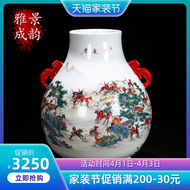 Jingdezhen ceramic hand - made the deer statute of vase decoration of the new Chinese style furnishing articles sitting room ark, flower arranging porcelain decoration