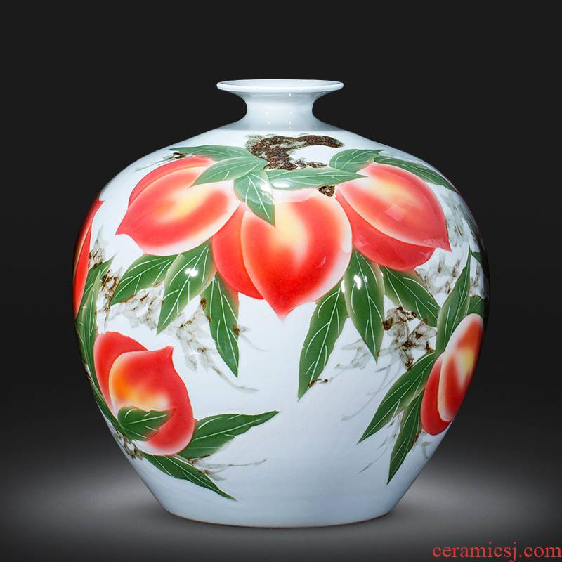 Jingdezhen ceramics vase furnishing articles of Chinese style living room home decoration hand - made peach pomegranate bottles of birthday gift
