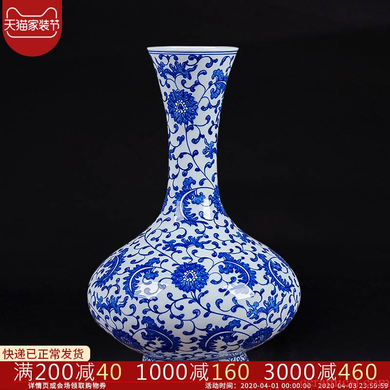 Antique blue and white porcelain of jingdezhen ceramics bound lotus flower vase Chinese style living room corner what adornment is placed by hand