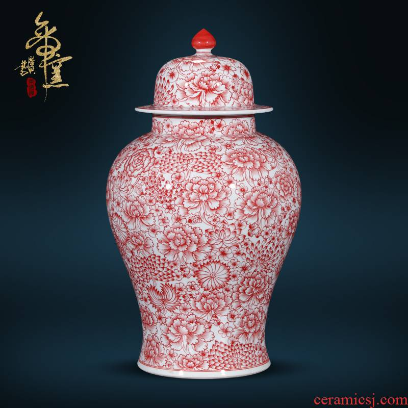 Jingdezhen ceramics antique hand - made alum general red flower pot Chinese style living room TV cabinet porch is decorated furnishing articles