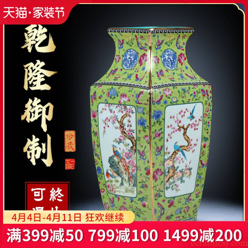Jingdezhen ceramic vase archaize square painting of flowers and porcelain enamel sitting room TV cabinet study decorative furnishing articles