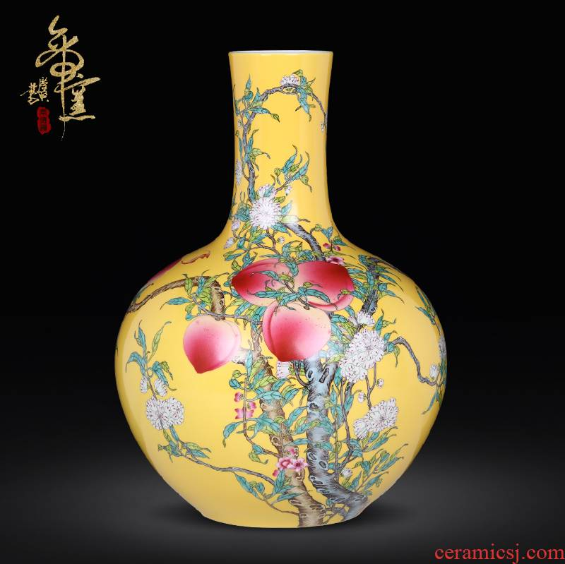 Hand draw archaize porcelain of jingdezhen ceramics heavy pastel peach peach vase nine bottles of the sitting room porch bat furnishing articles