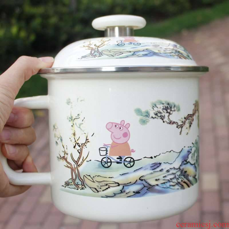 Nostalgic big ChaGangZi extra large ceramic cup with cover large with a run of enamel glass 16 domestic large capacity