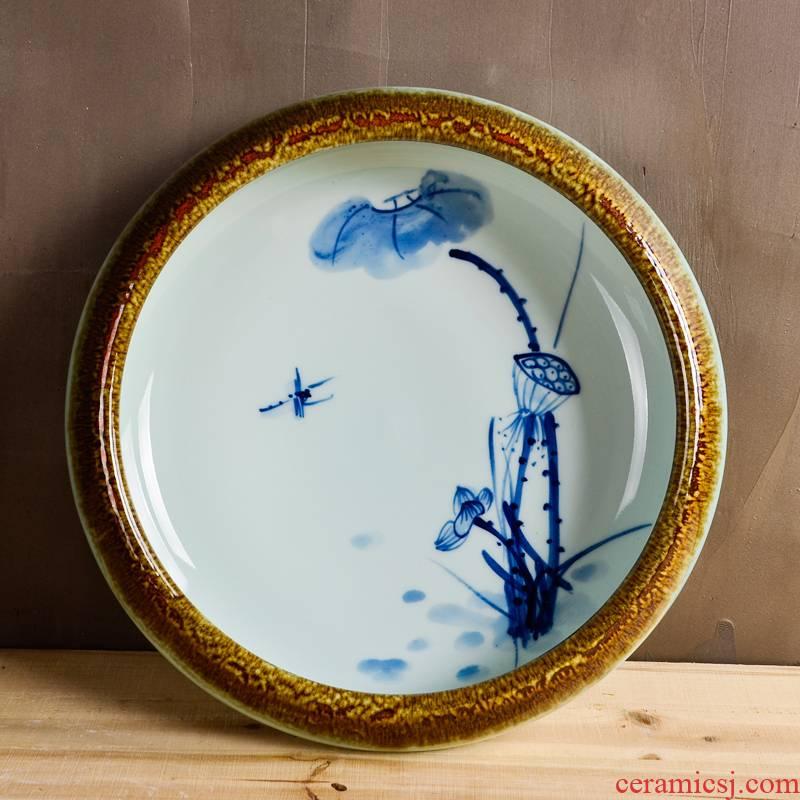 Cb81 jingdezhen ceramics hand - made little gold fish tank water lily bowl lotus cylinder tortoise raise flower pot fish basin hydroponics