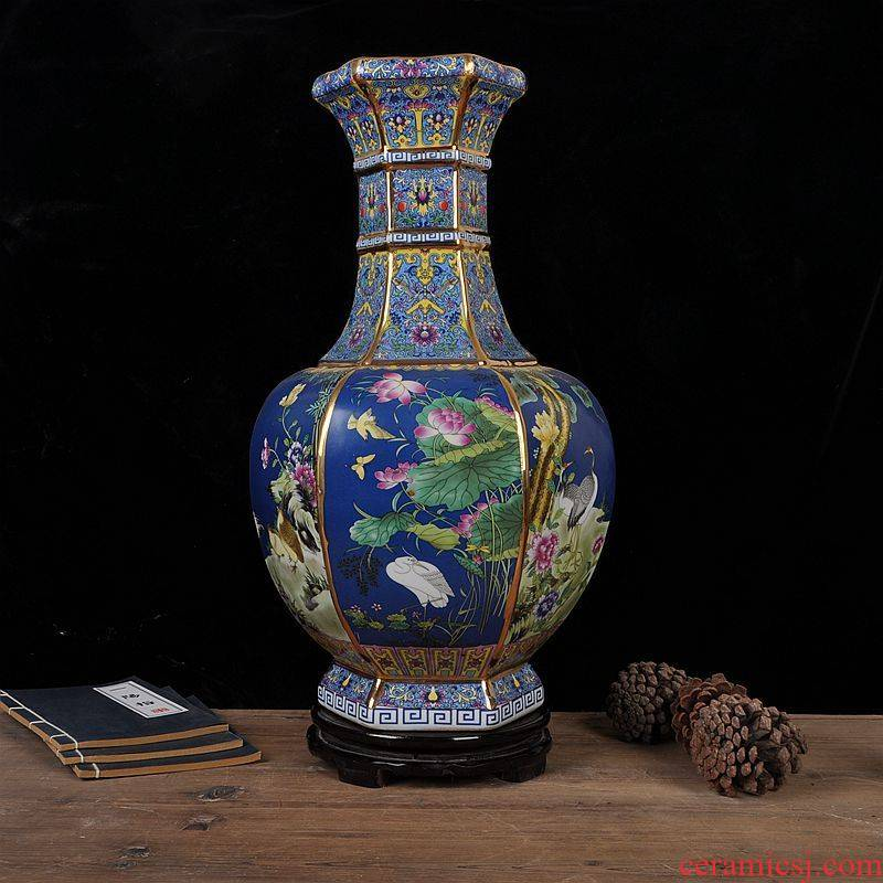 Archaize of jingdezhen ceramics colored enamel large vase furnishing articles of Chinese style classical flower arranging home sitting room adornment