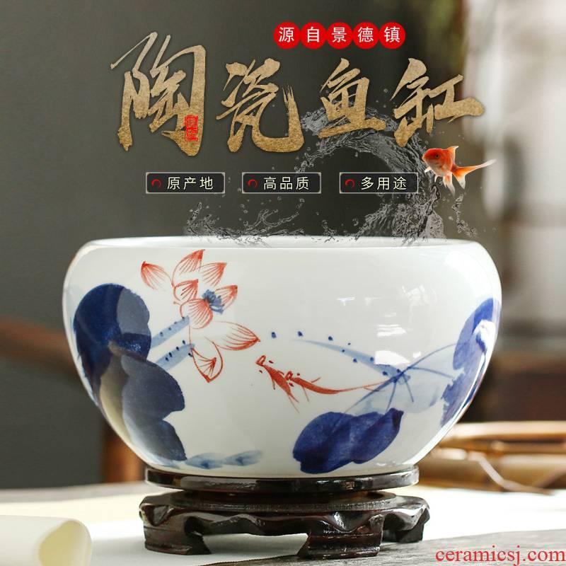 Jingdezhen ceramic furnishing articles snow cuhk aquarium water shallow refers to basin water lily tortoise cylinder storage cylinder porcelain