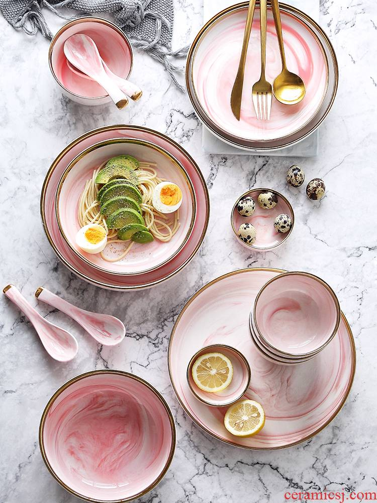 Tinyhome high - grade pink up phnom penh ceramic tableware home eat rice bowl dish soup bowl rainbow such as bowl steak flat
