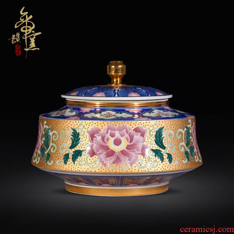 Jingdezhen porcelain craft gold powder enamel water lotus storage jar of pu 'er tea pot seal decorative furnishing articles