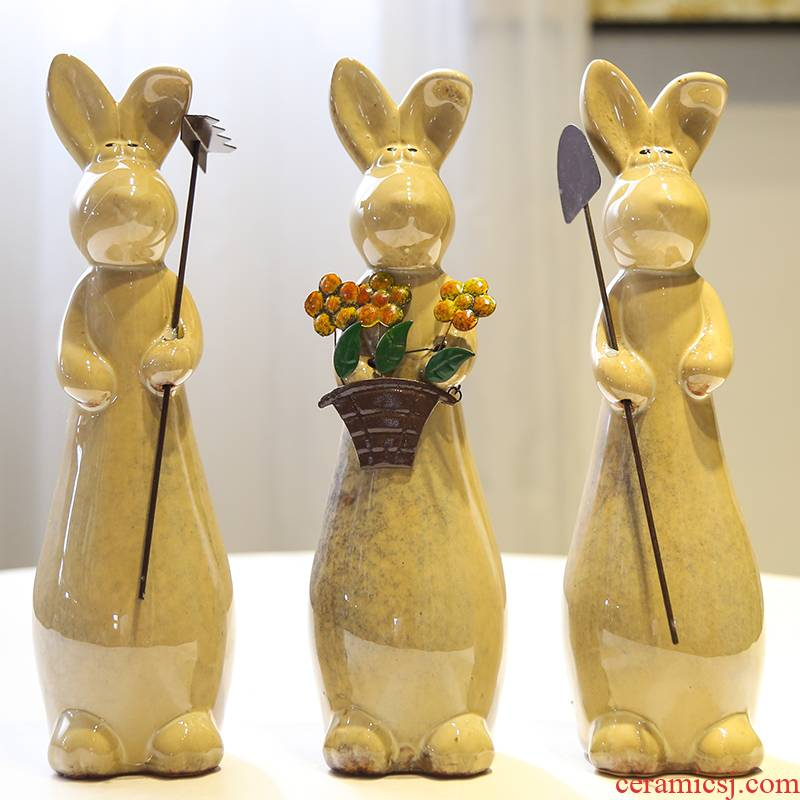 Ceramic decoration of animal furnishing articles creative little sitting room pure and fresh and desktop indoor household adornment bedroom TV ark