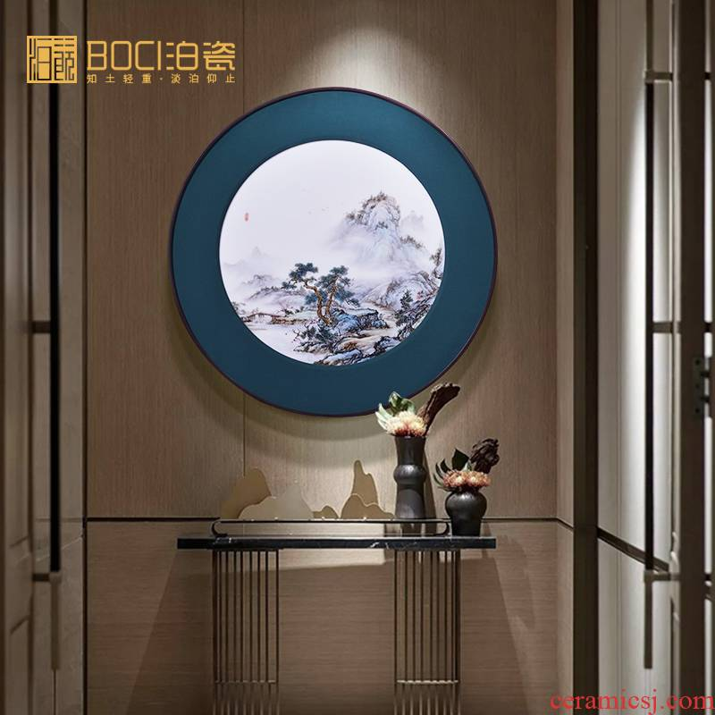 Jingdezhen ceramic porcelain plate painting landscapes all hand modern household j sitting room adornment mural single circular process drawing