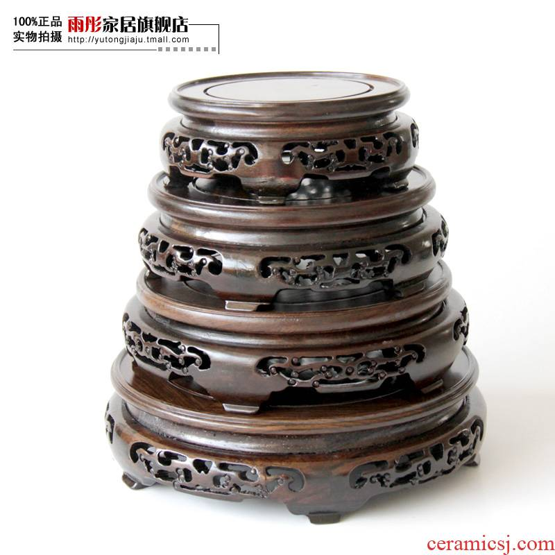 The rain tong home | solid wood carved wooden base hollow out furnishing articles base tank flower base frame