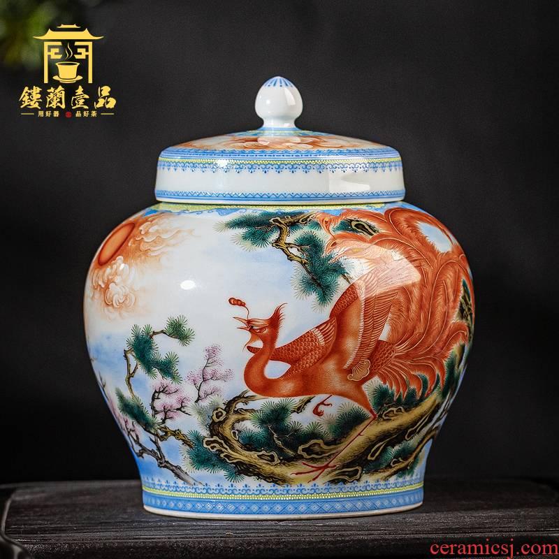 Jingdezhen ceramic pure hand draw pastel ChanFeng chaoyang caddy fixings storage tank large warehouse kung fu tea tea set cover tank