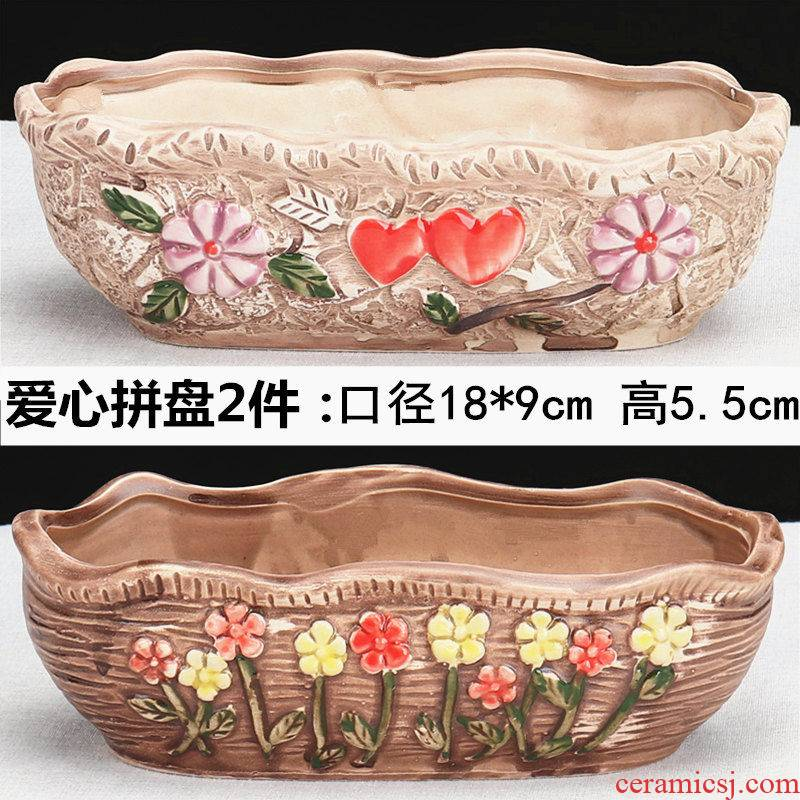Flowerpot ceramic interior contracted with tray plastic money plant large extra large special small fleshy Flowerpot white porcelain basin