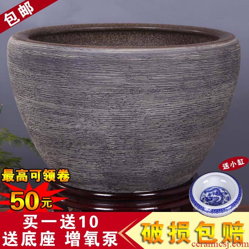 Jingdezhen ceramics by hand aquarium tortoise basin of water lily bowl lotus lotus cylinder balcony furnishing articles town house feng shui porcelain jar
