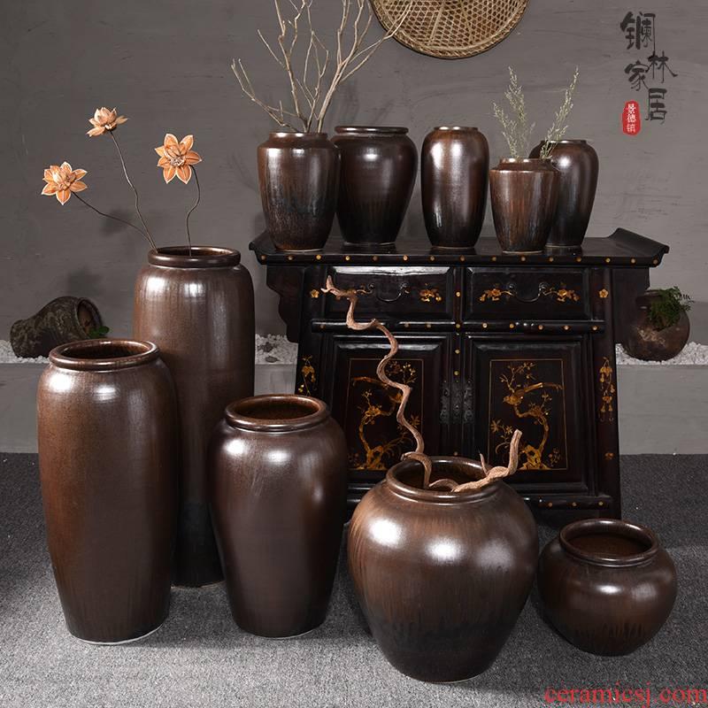 Jingdezhen ceramic vase landing large sitting room porch Chinese hydroponic flower arranging furnishing articles, checking pottery restoring ancient ways