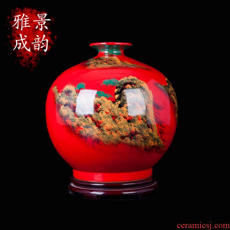 Jingdezhen ceramics China red hand - made scenery porcelain vase furnishing articles household act the role ofing is tasted, the sitting room porch arts and crafts