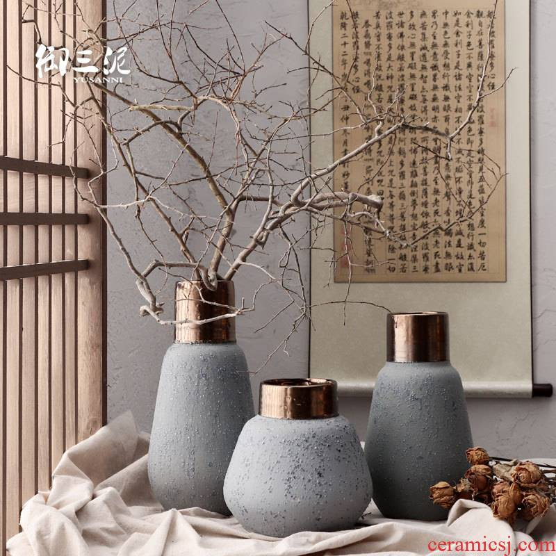 Dried flower adornment furnishing articles coarse light some ceramic pot flower arranging flower implement restoring ancient ways is the key-2 luxury of I and contracted ceramic vases, ziyan wu cooper