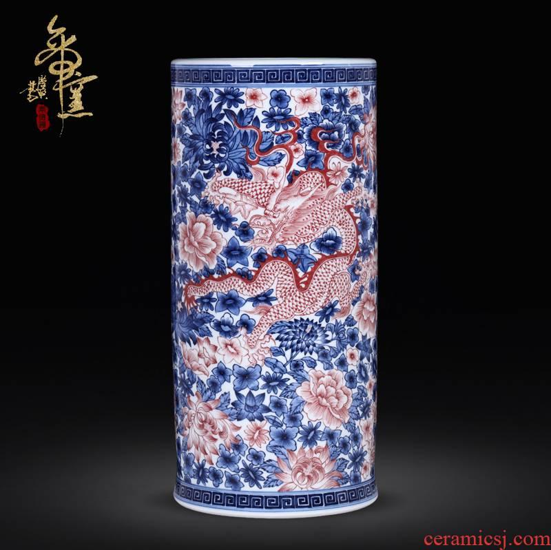 Jingdezhen ceramics imitation qianlong antique Chinese blue and white porcelain vases, flower arrangement sitting room porch rich ancient frame furnishing articles