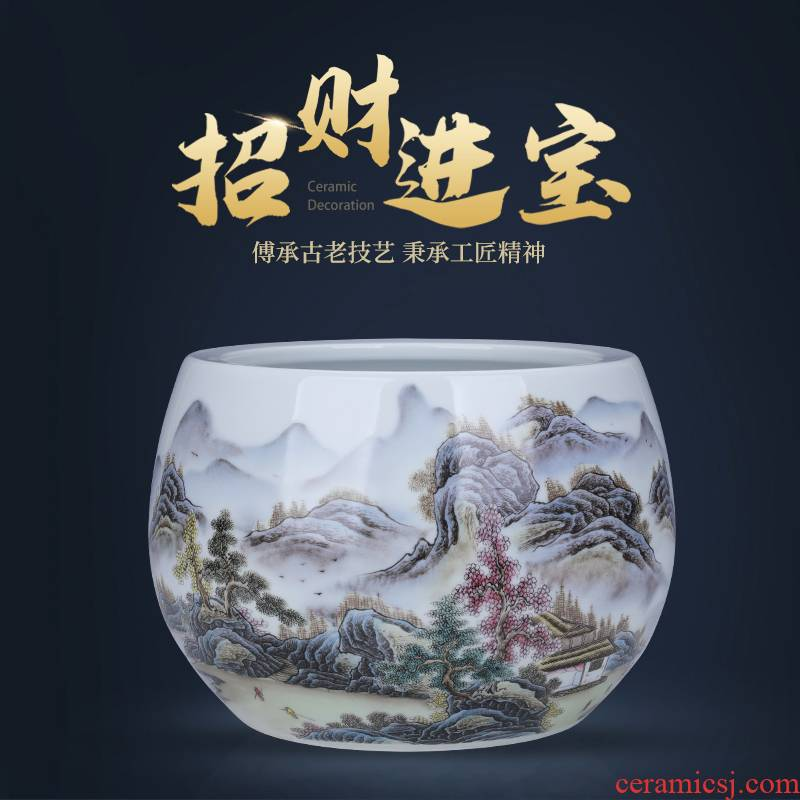 Basin of jingdezhen ceramic cornucopia furnishing articles money sitting room lucky fish tank water lily and the tortoise cylinder household ornaments