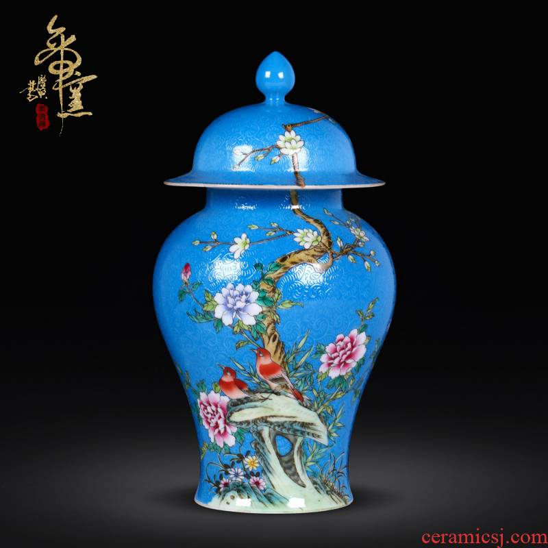 Jingdezhen ceramics archaize general grilled pastel flower pot creative living room of Chinese style household adornment housewarming gift