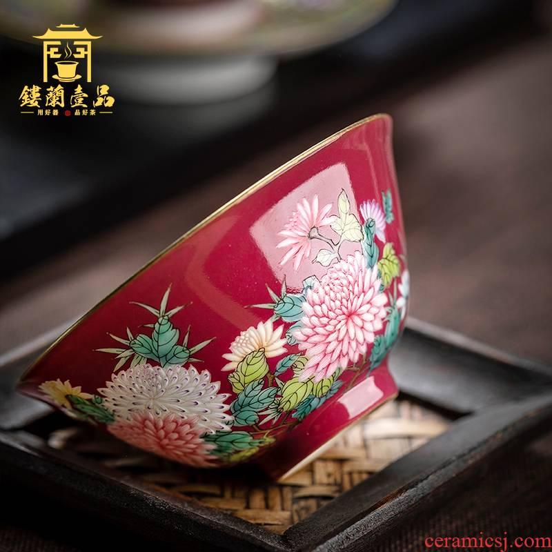 Jingdezhen ceramic all hand carmine by master cup kung fu tea tea cup bowl full personal single CPU
