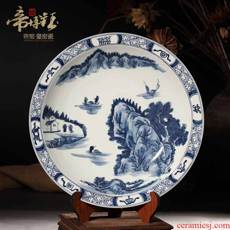 Jingdezhen ceramic antique hand - made character landscapes hang dish plate to household mesa handicraft ornament