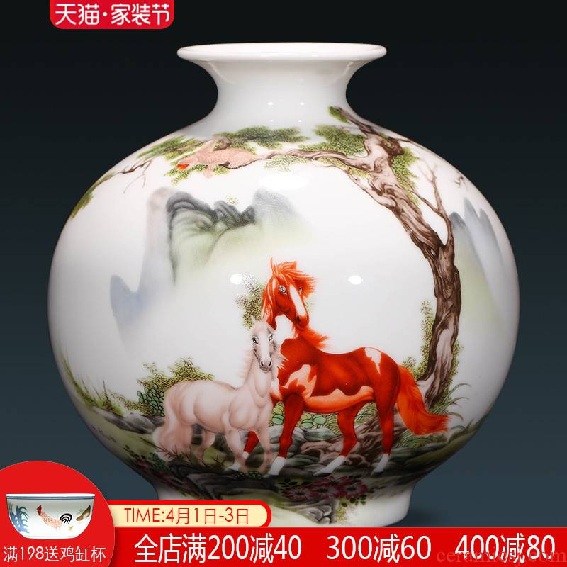 Jingdezhen ceramics floret bottle furnishing articles dried flower arranging flowers, Chinese style living room TV ark, home decoration arts and crafts