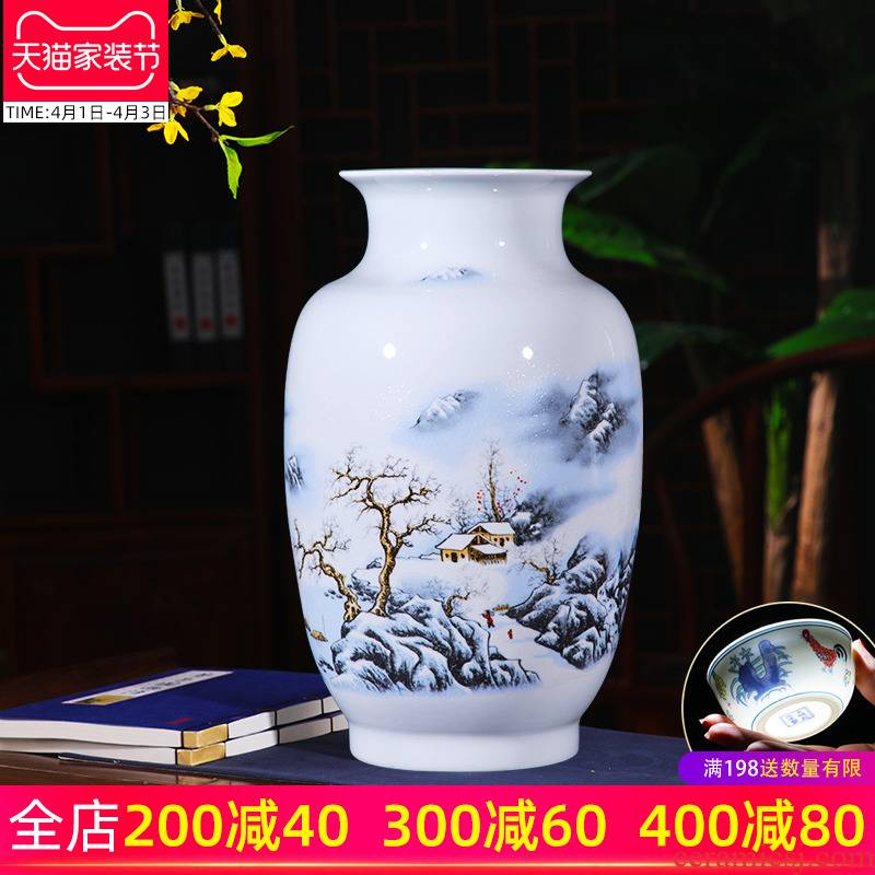 Jingdezhen porcelain ceramic vases, flower arranging is placed the new Chinese style household living room TV ark adornment ornament porcelain