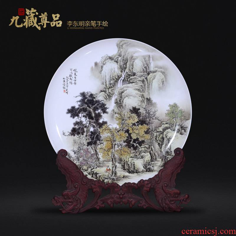 Jingdezhen ceramic dong - Ming li personally hand - made scenery hang dish decoration plate of Chinese style living room sat dish furnishing articles